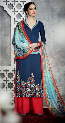 Royal Blue Color Pure Cotton Satin with Embroidery Un-Stitch Dress Material