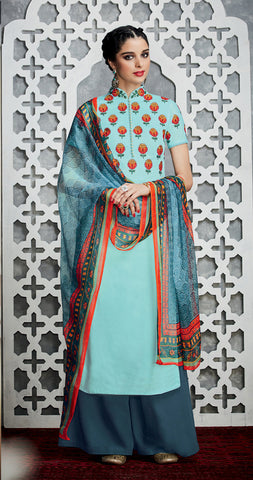 Sky Blue Color Pure Cotton Satin with Embroidery Un-Stitch Dress Material