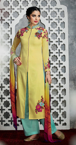 Lemon Yellow Color Pure Cotton Satin with Embroidery Un-Stitch Dress Material