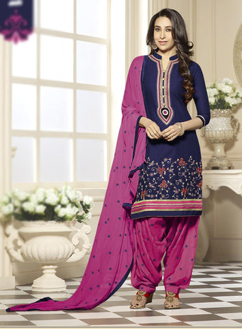Navy Blue & Pink Colored Pure Cotton Patiyala Dress Material