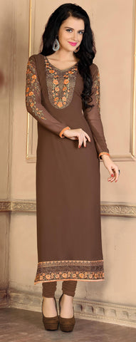 Rukhad Fashion Brown Georgette Anarkali Suit