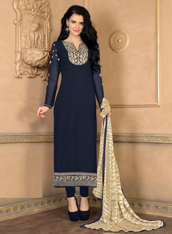 Rukhad Fashion Blue Georgette Dress Materials