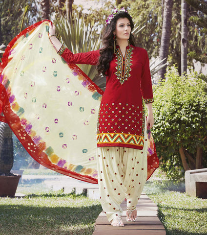 Red & Cream Colored Pure Cotton Patiyala Dress Material