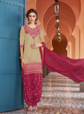 Beige & Pink Colored Pure Cotton Patiyala Dress Material