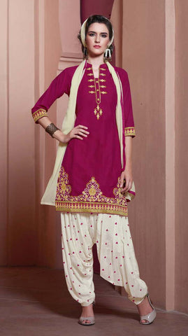 Dark Pink & Cream Colored Pure Cotton Patiyala Dress Material