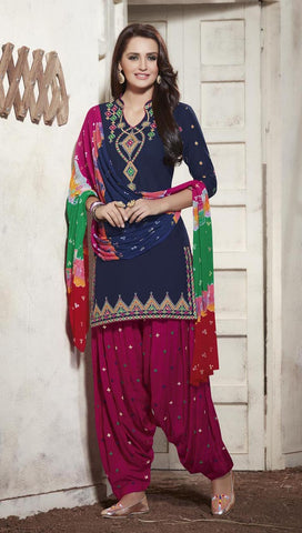 Navy Blue & Dark Pink Colored Pure Cotton Patiyala Dress Material