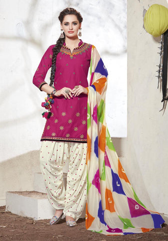 Pink & Off white Colored Pure Cotton Patiyala Dress Material
