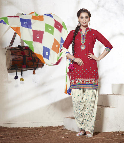 Red & Off white Colored Pure Cotton Patiyala Dress Material