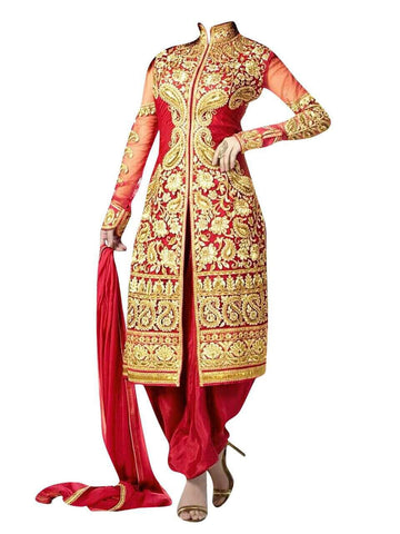 Designer Red Semi Stitched  Shervani Suit , anarkali- Rukhad Fashion
