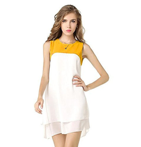Rukhad Fashion White & Yellow Color Designer Tunic Western Dresses.