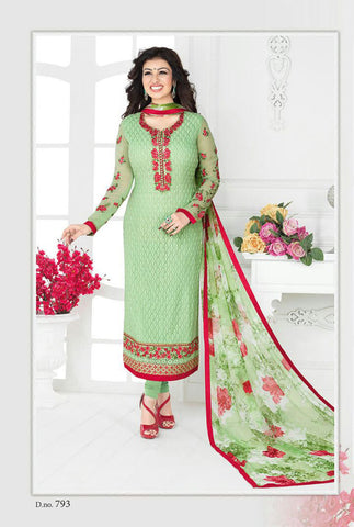 Green Georgette Designer Pakistani Suit , DRESS MATERIAL- Rukhad Fashion