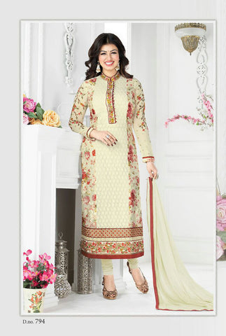 Cream Georgette Designer Pakistani Suit , DRESS MATERIAL- Rukhad Fashion