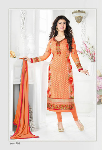 Orange Georgette Designer Pakistani Suit , DRESS MATERIAL- Rukhad Fashion