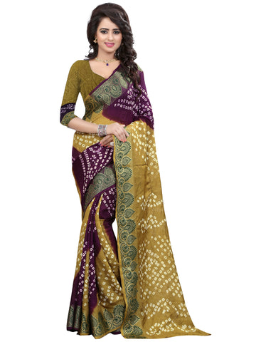 New Pattern Cotton Silk Mahendi And Purple Printed Women's Bandhani Saree , Sarees- Rukhad Fashion