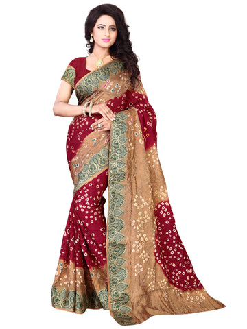 New Pattern Cotton Silk Beige & Maroon Printed Women's Bandhani Saree , Sarees- Rukhad Fashion