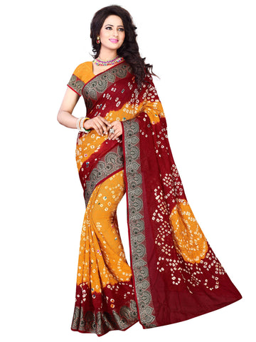 New Pattern Cotton Silk Maroon & Mustard Printed Women's Bandhani Saree , Sarees- Rukhad Fashion
