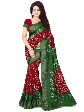New Pattern Cotton Silk Mahendi & Maroon Printed Women's Bandhani Saree , Sarees- Rukhad Fashion