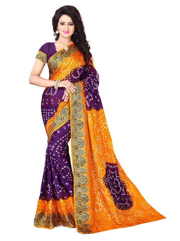 New Pattern Cotton Silk Mustard & Purple Printed Women's Bandhani Saree , Sarees- Rukhad Fashion