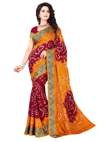 New Pattern Cotton Silk Mustard & Maroon Printed Women's Bandhani Saree , Sarees- Rukhad Fashion