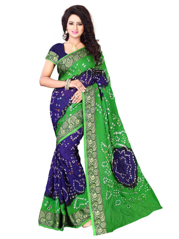 New Pattern Cotton Silk Green & Blue Printed Women's Bandhani Saree , Sarees- Rukhad Fashion