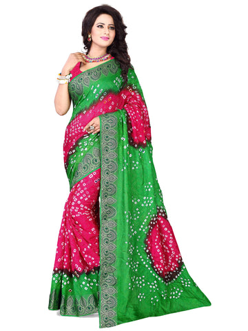 New Pattern Cotton Silk Green & Pink Printed Women's Bandhani Saree , Sarees- Rukhad Fashion