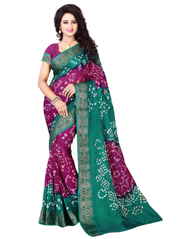 New Pattern Cotton Silk Magenta & Green Printed Women's Bandhani Saree , Sarees- Rukhad Fashion