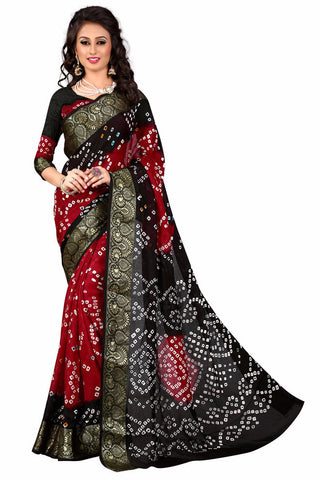 New Pattern Cotton Silk Black & Red Printed Women's Bandhani Saree , Sarees- Rukhad Fashion