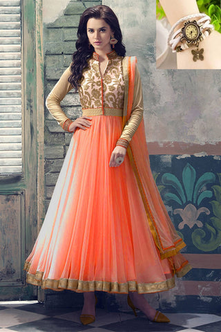 Peach Embroidered Heavy Net Anarkali Suit , anarkali- Rukhad Fashion