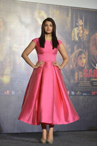 Pink Heavy Satin Full-Stitched Partywear Gown , Gown- Rukhad Fashion