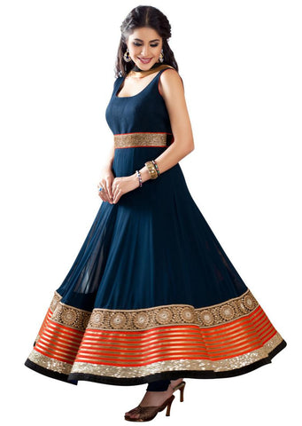 Navy Blue Color Georgette Anarkali Suit , anarkali- Rukhad Fashion