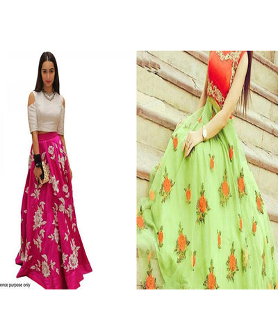 Combo of White & Pink Color and Orange & Sea Green Color Designer Indo-Western Semi-Stitched Lehenga