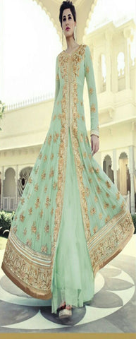 Aqua Green Color Designer Embrodried  Indo-Western Semi-Stitched Lehenga , lehenga- Rukhad Fashion
