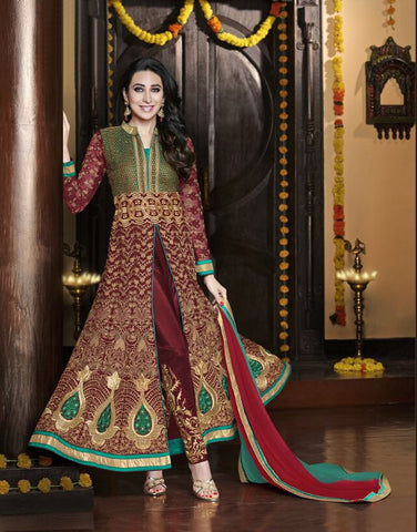 Exclusive Designer Maroon & Green Salwar Suit , anarkali- Rukhad Fashion