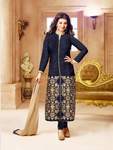 Navy Blue Georgette Straight Salwar Suit , DRESS MATERIAL- Rukhad Fashion