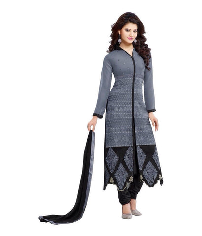 Fancy Grey & Black Georgette Straight Salwar Suit , DRESS MATERIAL- Rukhad Fashion