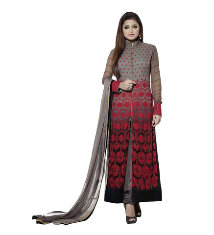 Grey, Black & Red Georgette Straight Salwar Suit , DRESS MATERIAL- Rukhad Fashion