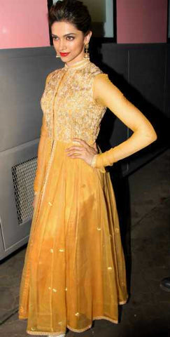 Yellow Color Embroidered Georgette Gown