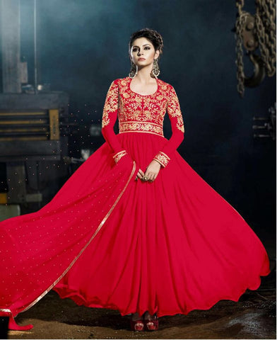Red Color Embroidered Georgette Gown , Gown- Rukhad Fashion