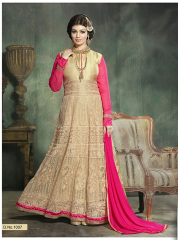 Lovely Beige & Pink Georgette Gown , Gown- Rukhad Fashion