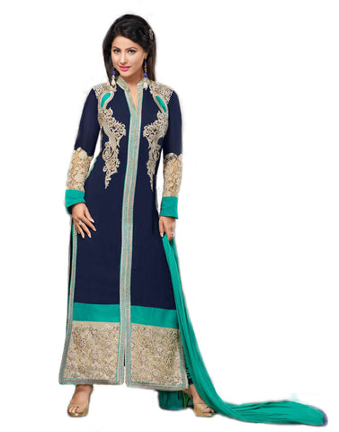 Blue Georgette Long Straight Suit , DRESS MATERIAL- Rukhad Fashion