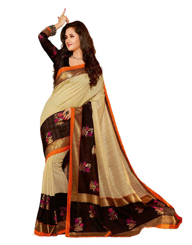 Gold Black Bhagalpuri Cotton Saree , Sarees- Rukhad Fashion