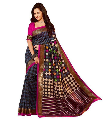 Black Bhagalpuri Cotton Saree , Sarees- Rukhad Fashion