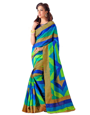 Blue Shaded Bhagalpuri Cotton Saree , Sarees- Rukhad Fashion