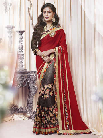 Multi Colored Georgette Lace Border Floral Print Saree