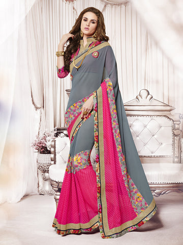 Grey & Pink Colored Georgette Lace Border Floral Print Saree