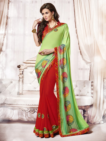 Green & Red Colored Georgette Patch Work Half-Half Saree