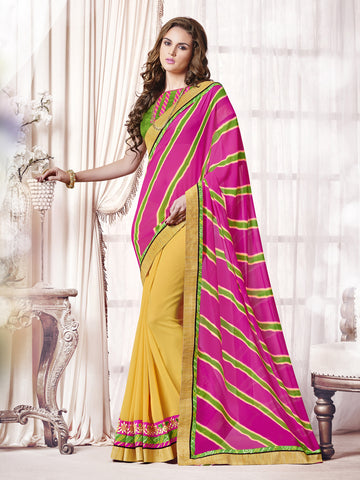Pink & Yellow color Georgette half-half saree.