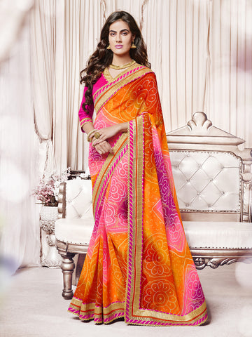Pink & Orange  color Georgette Bandhani type half-half saree.