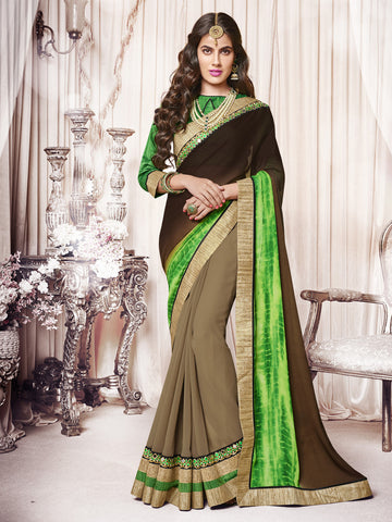Green, Grey & Black color Georgette Chiffon half-half saree.