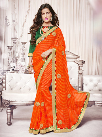 Orange color Georgette half-half saree.